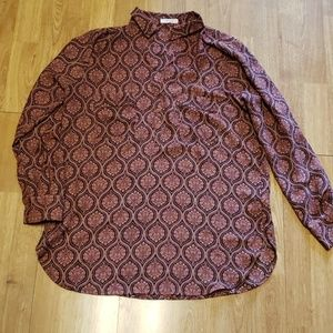 Pleione patterned popover blouse sz medium